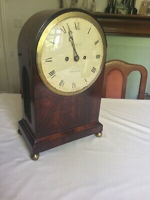 Antique  English Mahogany and ebony inlaid Arched Top Twin Fusee   Bracket Clock