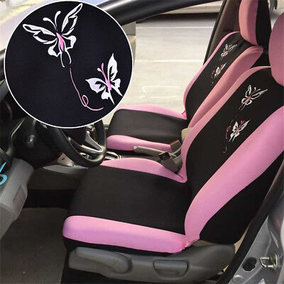 Universal Size 5-Seats Hot Pink Embroidery Butterfly Car Seat Cover Protector