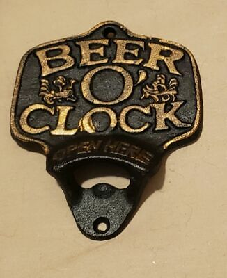 Wall Mounted Beer O'Clock Bottle Opener Cast Iron Home Bar Kitchen Gift Dad