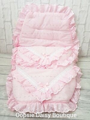 Baby Girls Pink Broderie Luxury Ribbon Foot Muff Cosy Toes Pram Nest
