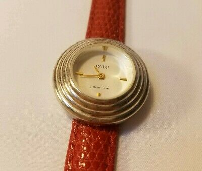 Women's Ecclissi Sterling Silver Watch White Dial w/ Red Band New Battery