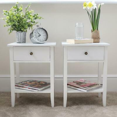 Set Of 2 White Bedside Tables With Shelf Nightstand Cabinet Drawer Country Wido