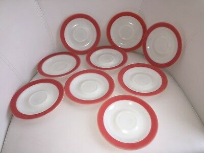 PYREX - Set of 9 - Milk Glass - Vintage - Saucers Flamingo Pink Band on Rims