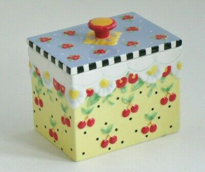 Mary Engelbreit, Michel & Co. 2002 Cherries Yellow TINKET BOX with Blue lid