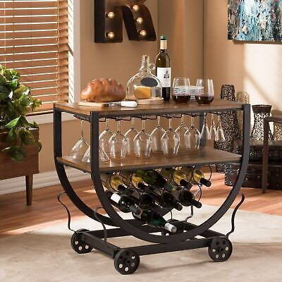 BAR CART WITH Wine Rack Wheels Accessories Rolling Wooden ...