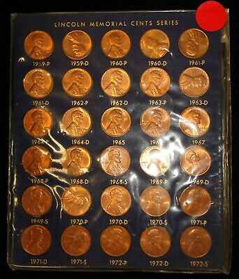 30 Pc 1959-1972 Lincoln Memorial Cent Penny Set