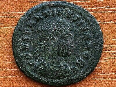 Roman Empire - Constantius II 347-355 AD AE Follis Camp Gate Ancient Roman Coin