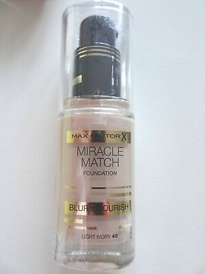 Max Factor Miracle Match Blur & Nourish Foundation LIGHT IVORY 40 30ml  REDUCED