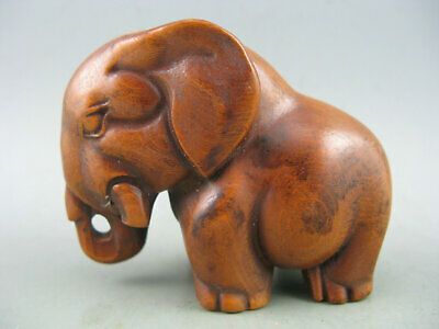 Antique Chinese Old Boxwood Hand Carved Elephant Collectible Statue