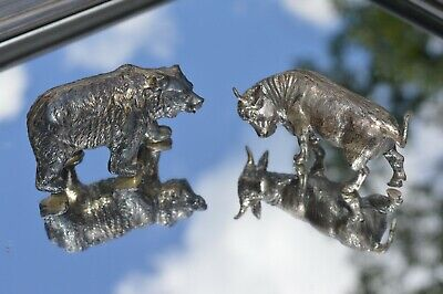Large Heavy Sterling Silver BULL & BEAR Figures marked 925 Tarnished 171 grams