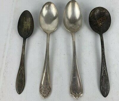 ROGERS & SON Lot of 4 Antique Vintage Spoons Silver Flat Ware Kitchen Utensils