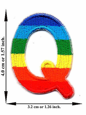 Alphabet Q Rainbow Color English Letter Applique Iron on Patch Sew For T-shirt