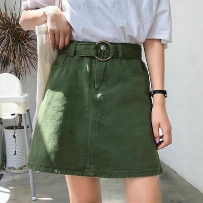 Belted Mini Skirts For Girls High Waist Denim A-line Sexy Skirt Casual Clothing