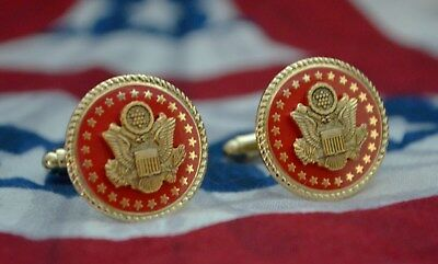 Republican Senate Red & Gold-Plated Gift Cufflinks~Authentic~Velvet Jewelry Box