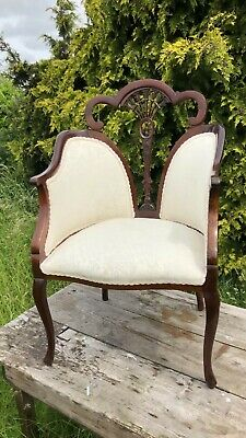 Beautiful Vintage Antique Victorian? Upholstered Wooden Chair *