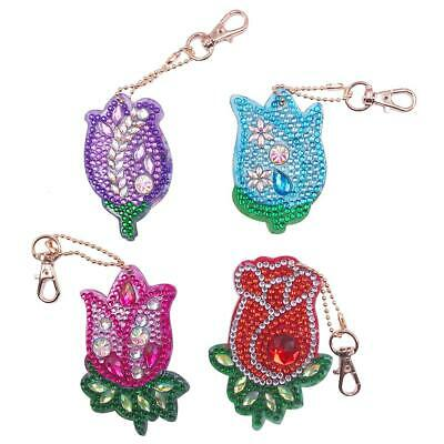 4pcs DIY Flowers Full Drill Special Shaped Diamond Painting Keychains Gifts #K