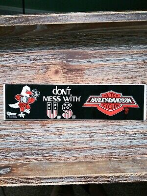 Vintage Original Harley Davidson Dont Mess With US For Bikers Only Sticker Decal