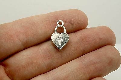 50 Heart Charm Lock Heart Charms Antique Silver Metal 18 x 10 mm US Seller 169