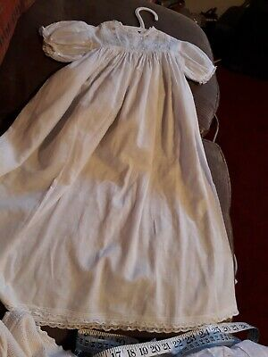 Happy Days Handmade Baby/dolls Long Gown Linen White Vintage