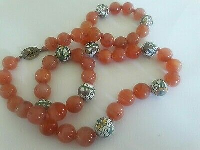 Chinese Vintage Carnelian Cloisonne Bead Necklace Marked Silver Made In China
