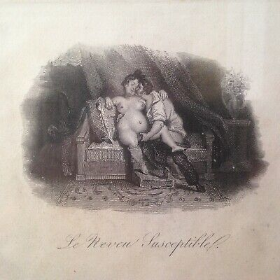 Pair of Erotic Antique French Engraving Prints / Risque - Rare / Framed 38x35cm