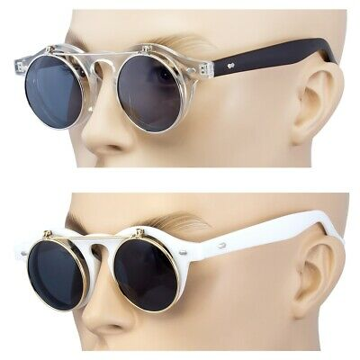 2 Pair Cool Flip Up Lens Steampunk Vintage Retro Round Sunglasses Clear White US