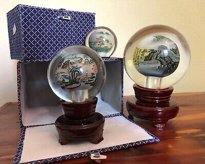 Reverse Hand Painted Glass Sphere Li Bien Paperweight Globes Great Wall Of China