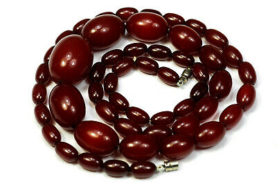 Antique Art Deco Cherry Amber Bakelite Faturan Beads Necklace 32 ins 61g