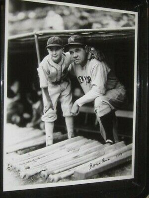 Babe Ruth w/Batboy NY Yankees Baseball Original Brace 11x14 Photo *Autograph