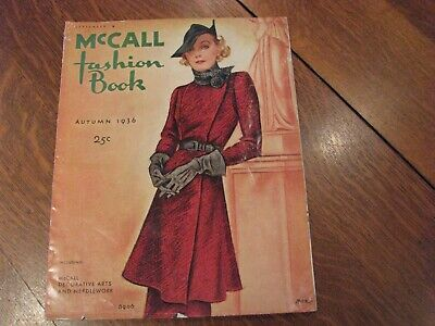 Mccall 1930s Autumn 1936 fashion book quarterly vintage sewing patterns antique