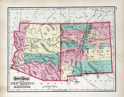 1877 New Mexico and Arizona map poster Gray GENEALOGY state history 0310077