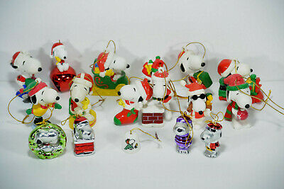 Lot of 17 Snoopy Christmas Tree Ornaments and Bell
