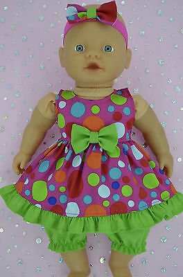 "PlaynWear Doll Clothes For 13""Little Baby Born/Mommy DOT DRESS~BLOOMERS~HEADBAND"