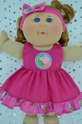 """Play n Wear Doll Clothes For 14"""" Cabbage Patch PATTERN/HOT PINK DRESS~HEADBAND"""