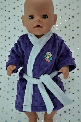 """Play n Wear Dolls Clothes To Fit 17"""" Baby Born PURPLE MINKY DRESSING GOWN"""