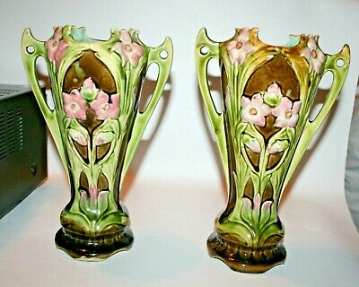 """Pair of Antique Continental Art Nouveau Majolica Two Handled Vases 10"""""""