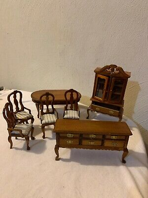 Vintage Dollhouse Early American Wood Dining Room Set