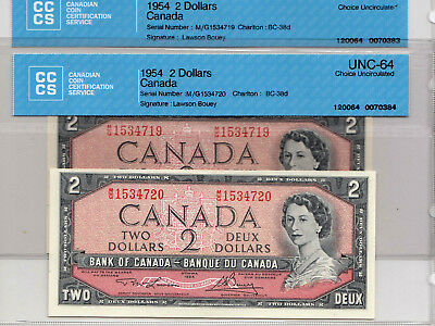 Canada 1954 Bank Of Canada 2 Dollars Cccs 64 Gem Unc Set Of 2 Consecutive