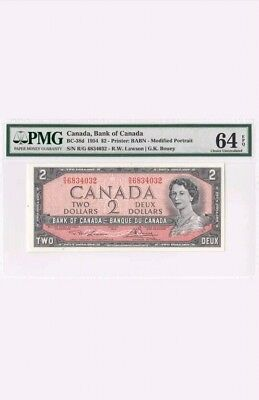 1954 Bank Of Canada Qeii $2 (( Pmg 64 Epq ))
