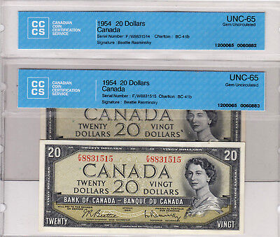 1954 Bank Of Canada 20 $ Qeii Beattie & Rasminsky ( Unc 65) Lot Of 2 Consecutive