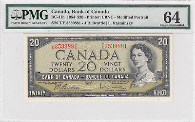 1954 Bank Of Canada 20 $ Qeii Beattie & Rasminsky ( Pmg 64 )