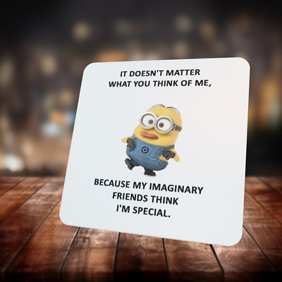 Minions Funny Quote Coasters - 9cm Square - Glossy Finish Styles 26 to 32