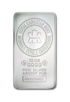 Royal Canadian Mint 10 Oz Silver Bar 9999 Pur