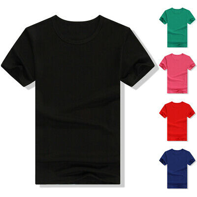 Women Men Basic Tee Casual Solid Crew Neck Short sleeve T-Shirt Fashion Summer