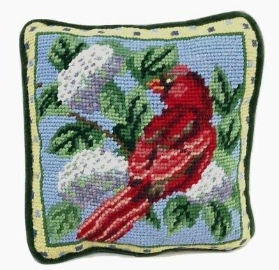 Handmade Red Cardinal Bird Victorian Country Cottage Wool Needlepoint Pillow 7x7