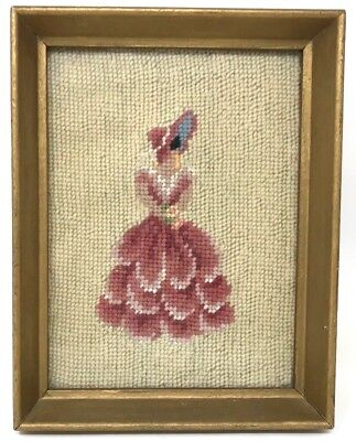 """1930s Antique NEEDLEPOINT Embroidery Sampler Victorian Lady FRAMED 9"""" x 7"""""""