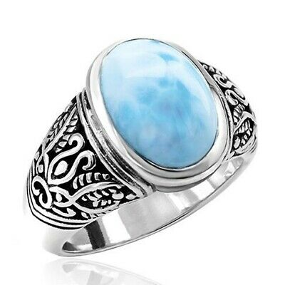 Women 925 Silver Blue Moonstone Ancient Ring Wedding Jewelry Size#6-10 Ring Gift