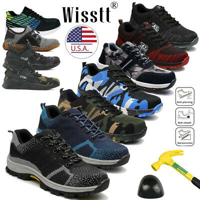 Men's Safety Extra Wide Work Shoes Steel Toe Boots Breathable Mesh Sneakers Size