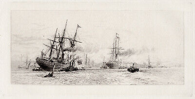 William Wyllie 1800s Detailed Etching Seascape with two Ships SIGNED FRAMED COA