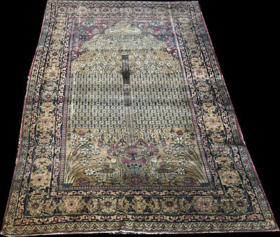 """Authentic 19th Century Pictorial Collectible Persian Lavar Kirman Rug """"Must See"""""""